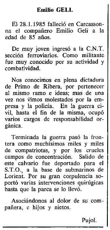 """Necrològica d'Emili Geli Clotes apareguda en el periòdic tolosà """"Cenit"""" del 12 de març de 1985"""