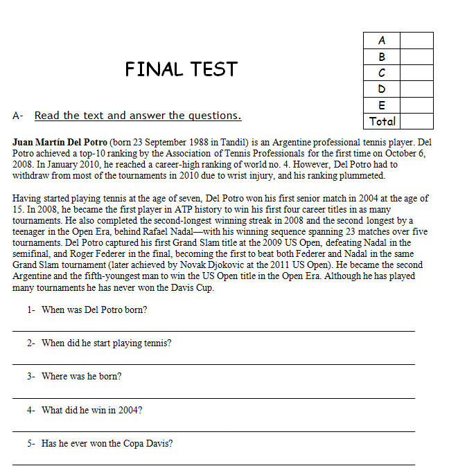 Sports Final Reading Based Test