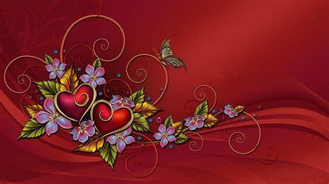 full hd wallpaper heart leaves flower composition red