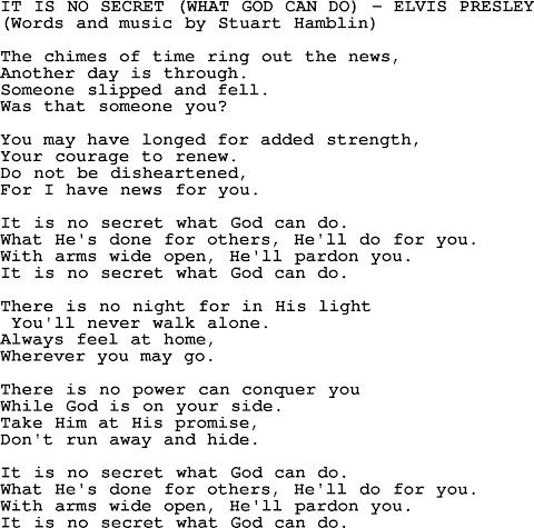 It Is No Secret Lyrics