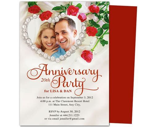 Heart Frame Anniversary Invitation Template   25th & 50th