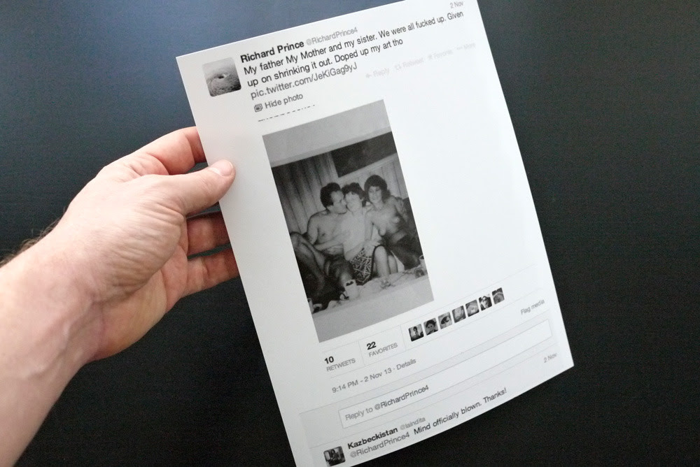 Fulton Ryder. Richard Prince tweet, 9:14 PM – 2 Nov 13. Unique inkjet print, 8.5 in. x 11 in.