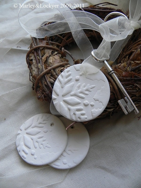 Hint Of Snow- White Clay tags- set of 3