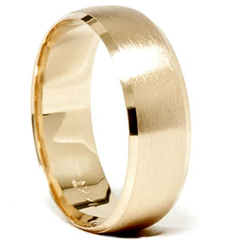mens  gold mm beveled brushed wedding ring band  ebay