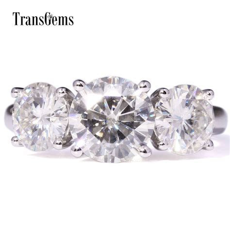 TransGems 4 CTW Carat Lab Moissanite Diamond Three Stone