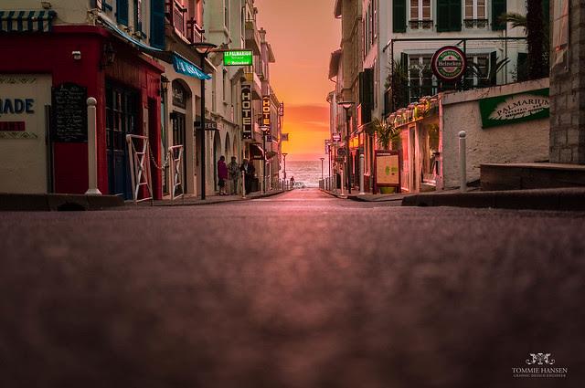 Magic sunset, street and ocean in Biarritz