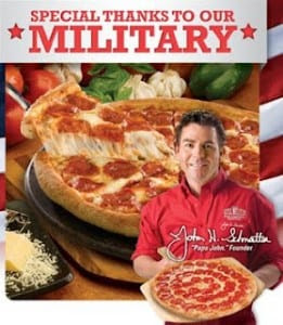 Military Appreciation pizza with Papa Johns 261x300 Papa Johns Celebrates Military Members with 1 Topping Large Pizza for $7!