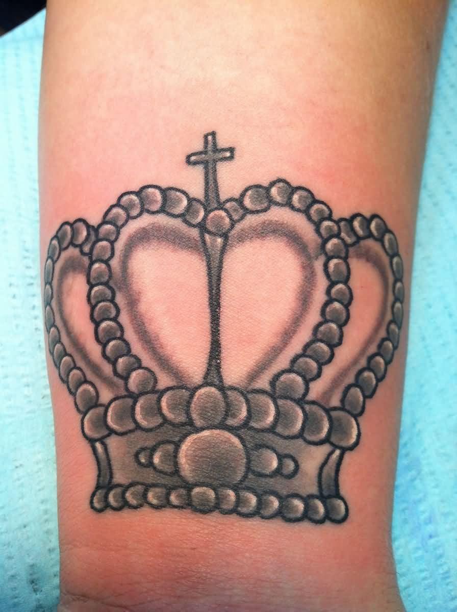 Grey Ink Queen Tattoo On Arm Sleeve