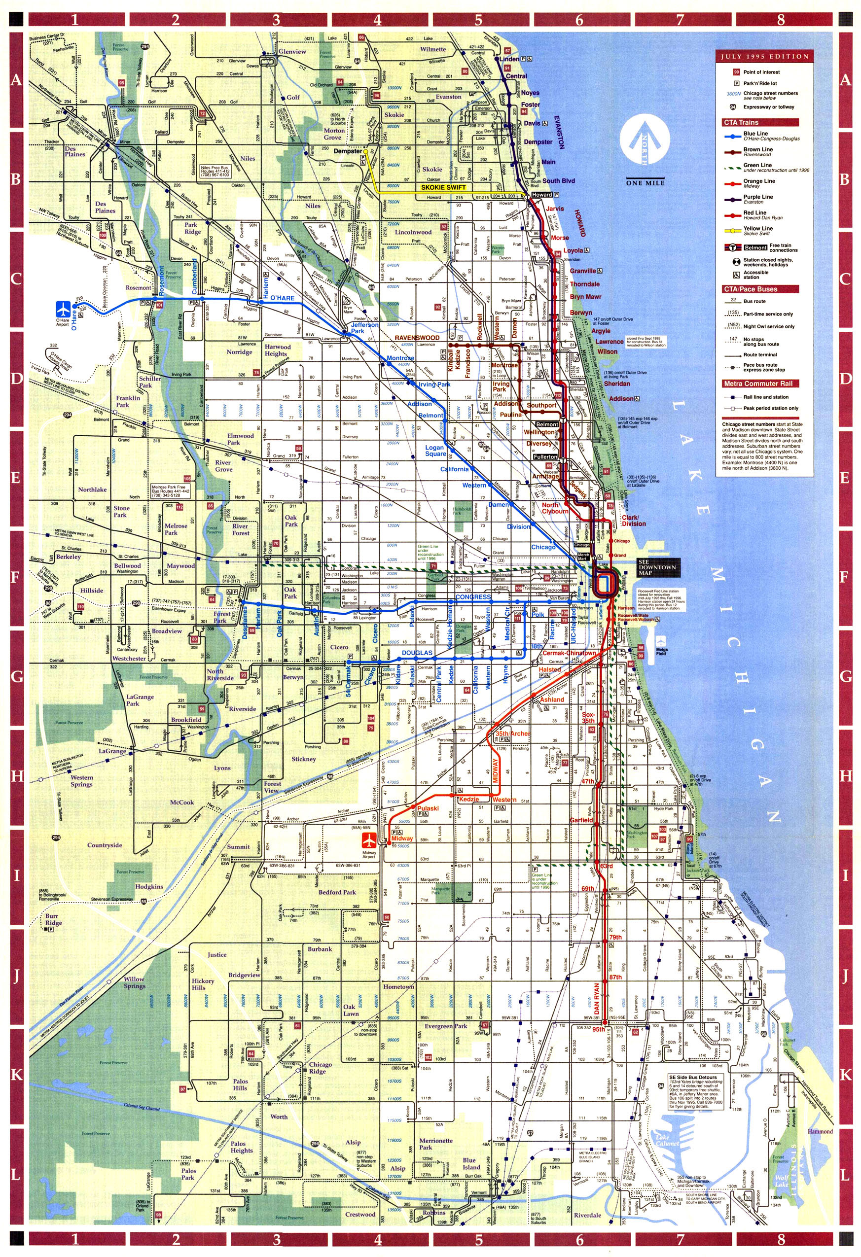 Downtown Chicago Subway Map.Chicago Transit Map Kitchen 2018