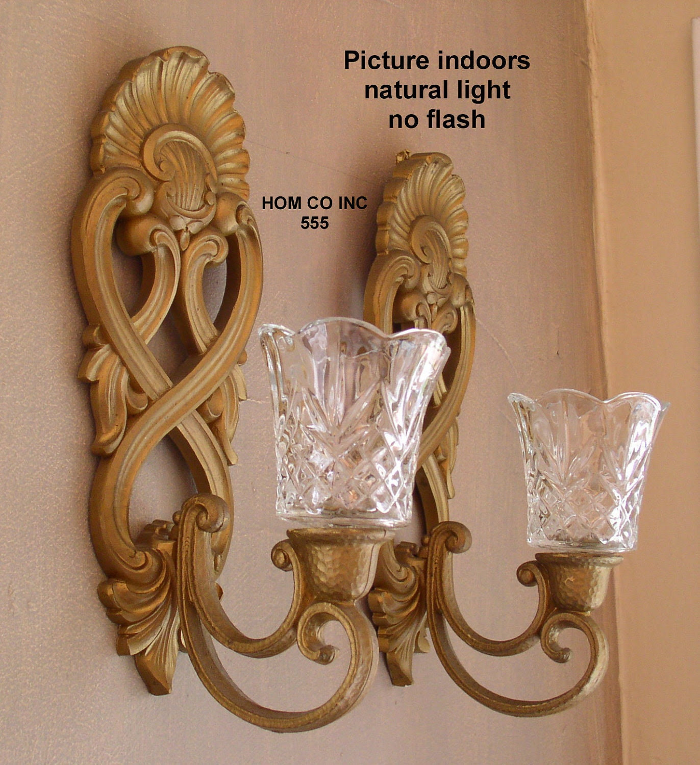 Vintage Scroll Wall Sconce Candle Holder with Glass by duckpod