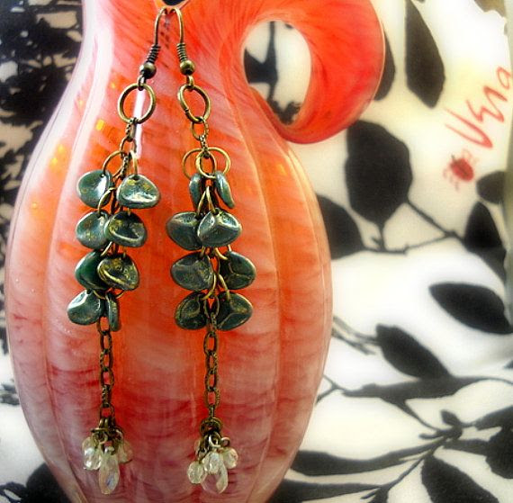 Earrings Dangling Czech Mini Rose Petal Beads by ALCustomJewelry, $31.49