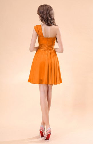 orange cute aline sleeveless mini ruching wedding guest