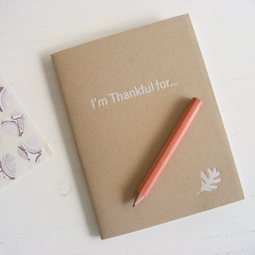 thankful pressed pocket journal in kraft