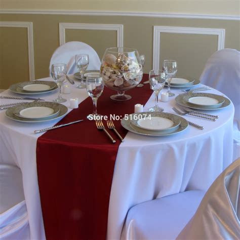 "Wholesale 10/lot burgundy Satin Table Runners 12"" x 108"