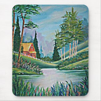 Cabin by the Stream Oil Painting Mouse Pads