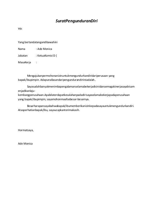 Contoh Surat Pengunduran Diri Kerja Bahasa Inggris Gontoh