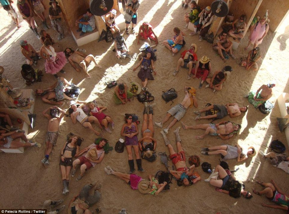 Sleeping it off: Burners take a communal nap before the next party
