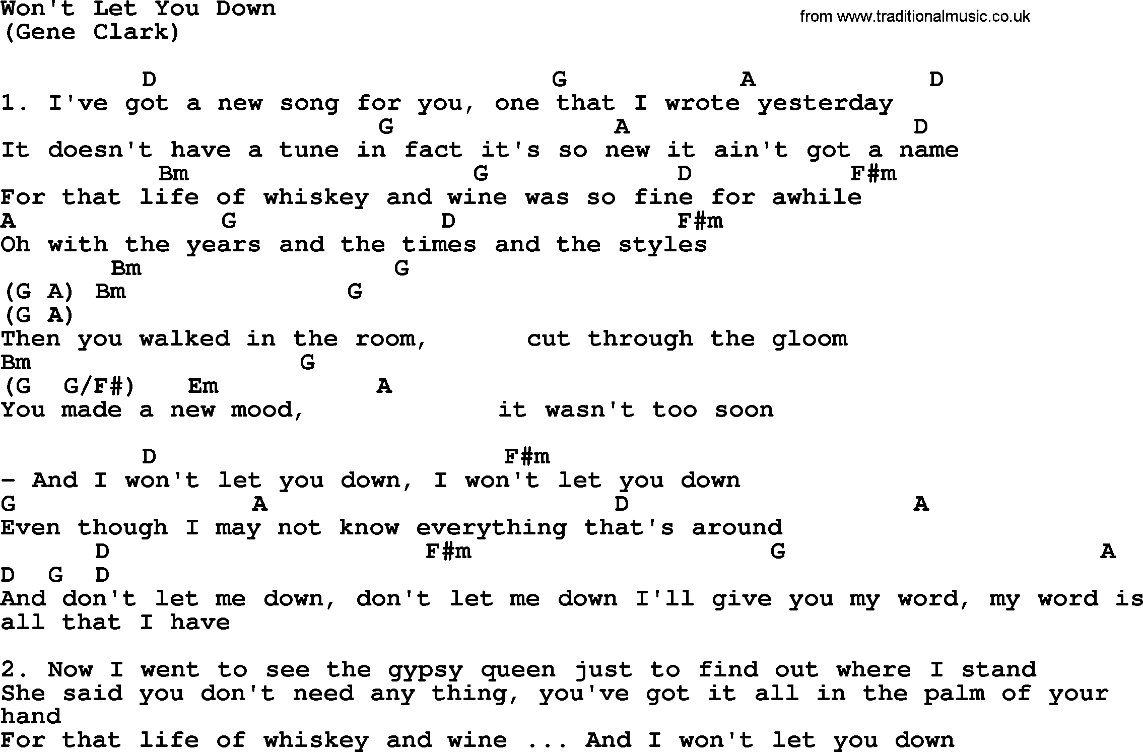 I Won T Back Down Chords   Sheet and Chords Collection