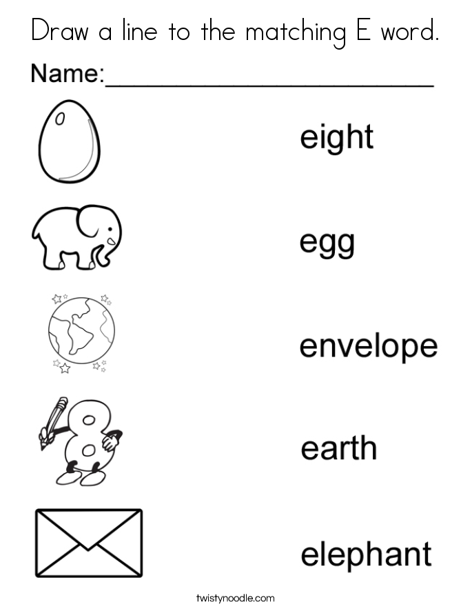 Draw a line to the matching E word Coloring Page - Twisty ...