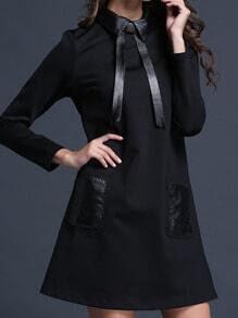 Black Long Sleeve Contrast PU Leather Pockets Dress