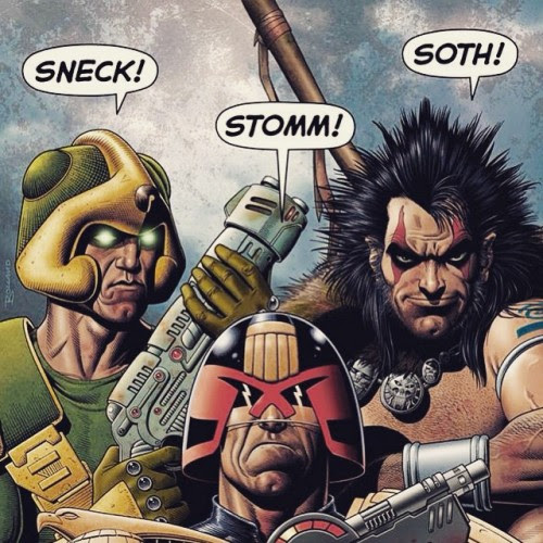 You Said It Boys!They're jumping on board with 2000 AD - have you picked up your copy of Prog 1924 yet? It's the IDEAL issue for new and lapsed readers with FIVE new stories, inc. Judge Dredd, Slaine and Strontium Dog, and some recent favourites return, too! Created by some of the biggest talents, now & future, not just in the UK, but in world comics, inc.: Pat Mills, John Wagner, Carlos Ezquerra, Dan Abnett, Henry Flint & Karl RichardsonWith this colossal cover, especially illustrated by former art droid, universally admired for his fabulous fronts.., Brian Bolland - what more incentive do you need?