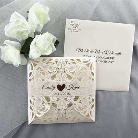 Rose Gold Foiled Lasercut Invitation   Red Rose Invitations