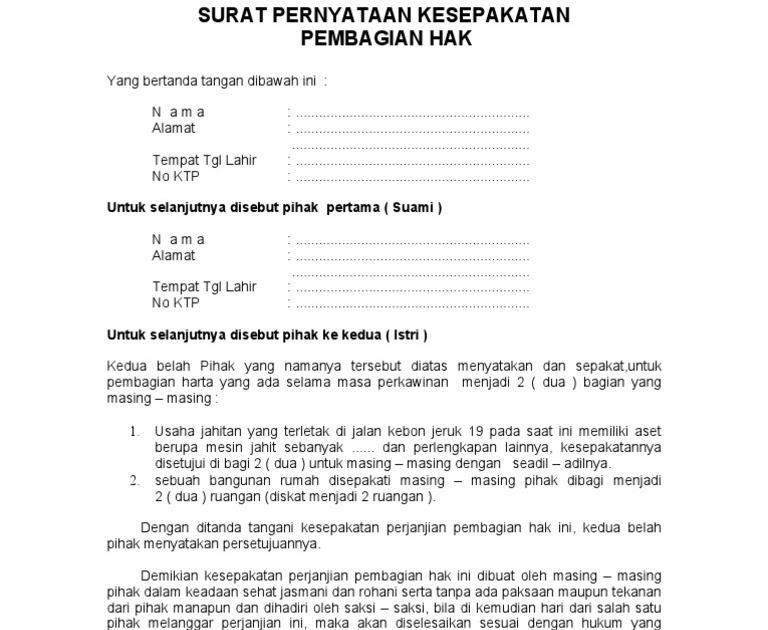 10 download surat perjanjian harta gono gini pdf doc 2019