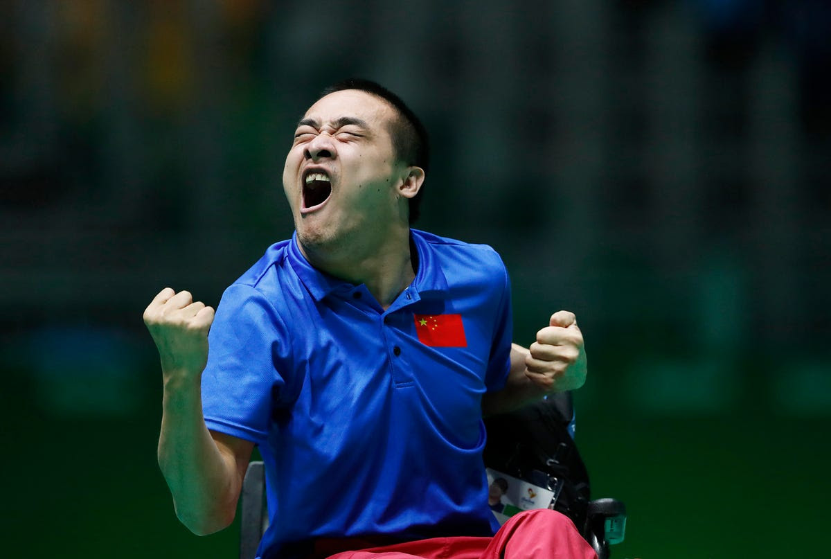 China's Yan Zhiqiang celebrates during the bronze-medal match in boccia.