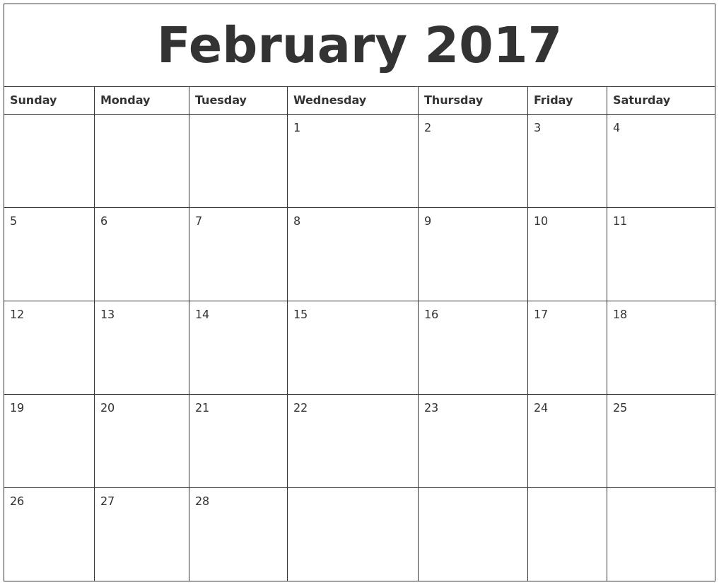 February 2017 daily calendar | Calendar 2017