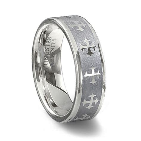 Tungsten Carbide Cross Ring   Couples Cross Wedding Band