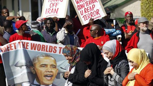 Anti-US protest took place outside the American embassy in Pretoria. Obama is in the country for a state visit. by Pan-African News Wire File Photos