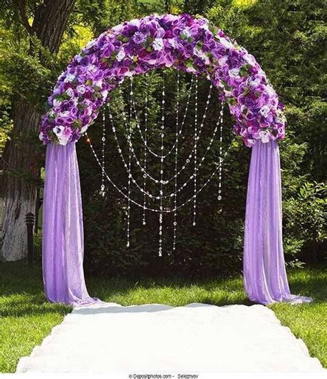 20 Beautiful Wedding Arch Decoration Ideas   Royal purple
