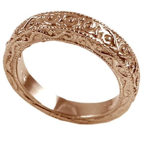 14k Rose Gold Antique Victorian Wedding Band Ring , Cubic