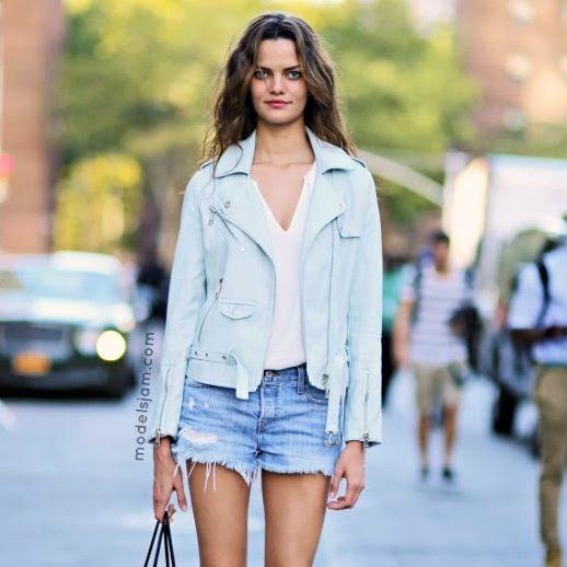 Le Fashion Blog Model Off Duty Brazilian Model Barbara Fialho Light Blue Moto Jacket Cut Off Denim Shorts Street Style Via Models Jam photo Le-Fashion-Blog-Model-Off-Duty-Barbara-Fialho-Blue-Moto-Jacket-Cut-Off-Shorts-Street-Style-Via-Models-Jam.jpeg