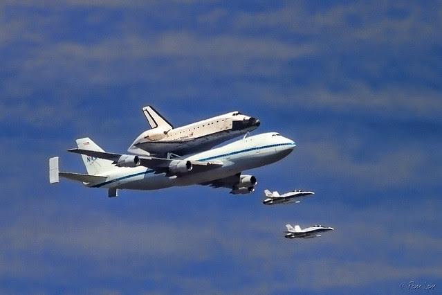 Space shuttle Endeavor flyover