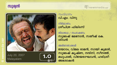 Suryan, Sooryan, Jayaram, V.M. Vinu, Saikumar, Vijayaraghavan, Vimala Raman, Nandini, Malayalam Movie Reviews, Cinema, Film, July Release.