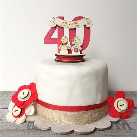 40th Wedding anniversary topper ruby wedding cake topper