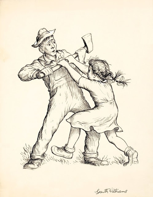 sketch of girl and man fighting over axe
