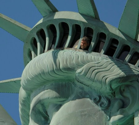 the statue of liberty crown. people in statue crown