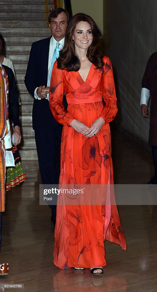 Catherine, Duchess of Cambridge attends a reception celebrating UK and Bhutanese friendship and cooperation at the Taj Hotel on April 15, 2016 in Thimphu, Bhutan. The Royal couple are visiting Bhutan as part of a week long visit to India and Bhutan that has taken in cities such as Mumbai, Delhi, Kaziranga, Bhutan and Agra.