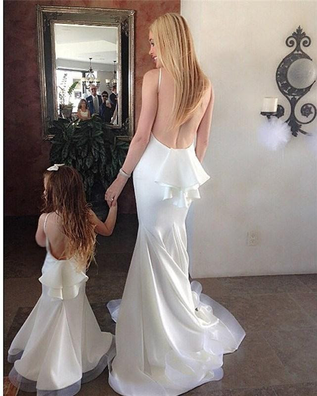 2015 mother and daughter matching dresses white backless