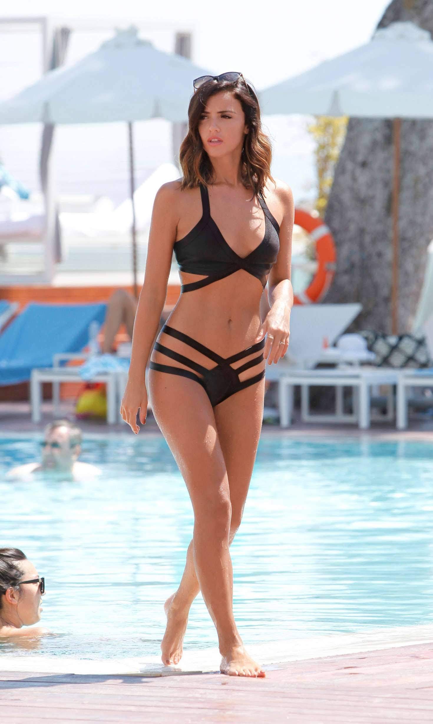 Lucy Mecklenburgh in Black Bikini on holiday in Majorca