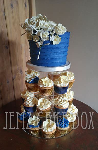 Royal Blue & Ivory Cupcake TowerRoyal Blue & Ivory Cupcake