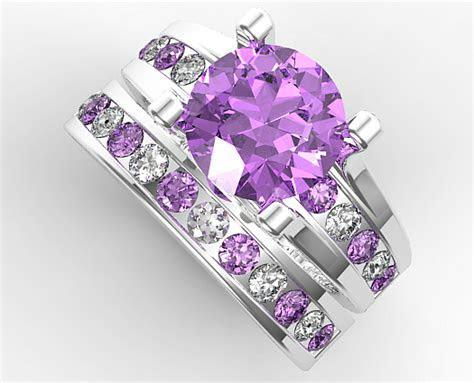Amethyst Bridal Ring Set   Vidar Jewelry   Unique Custom