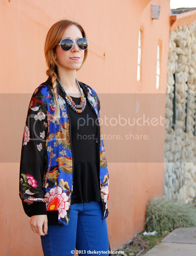 Zara Oriental bomber jacket, Joe Fresh cropped blue jeans, Mossimo fringe handbag, ankle strap heels, Los Angeles fashion blogger