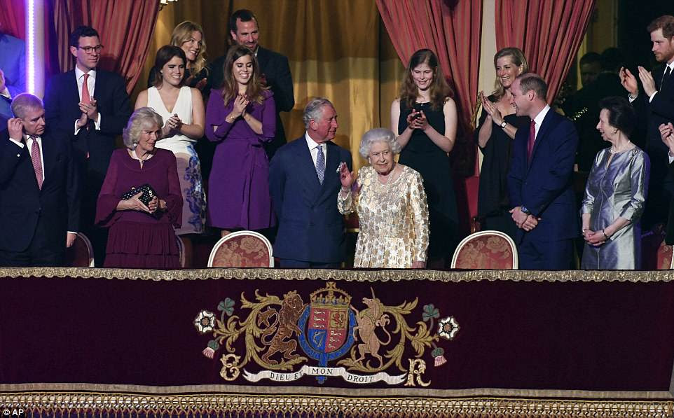 Britain's Queen Elizabeth II, surrounded by members of the royal family, takes her seat at the Royal Albert Hall