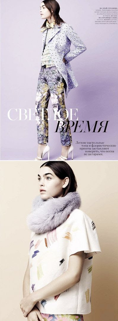 HARPERS BAZAAR RUSSIA BAMBI NORTHWOOD-BLYTH FLORAL SPRING 2012 MIX PRINT MIU MIU FUR PAINT BRUSH MARKS WHITE HEELS BOW TIES PLAID PASTELS LIGHT PINKS BLUES CELINE SHORTS MIDI SKIRT 1
