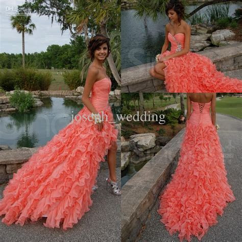 ZPD 164 Beautiful Coral Color Strapless Sweetheart High