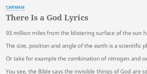 There Is A God Lyrics Carman