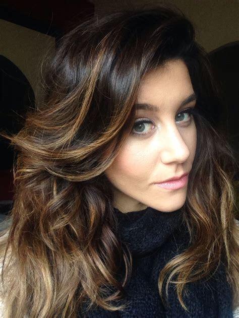 impressive brown hair  caramel highlights